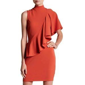 Mock neck ruffle dress